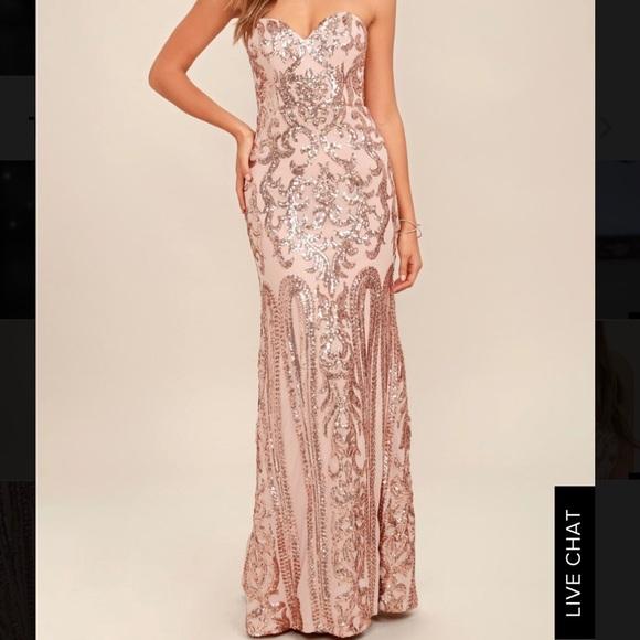 7973ef1e Bariano Dresses   Rebecca Rose Gold Strapless Sequin Maxi Dress ...